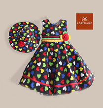 Coloful Heart Print Patchwork Girls Summer Dress with Cap Flower Kids Party Dresses For 3-7Y kids clothes vestidos infantis