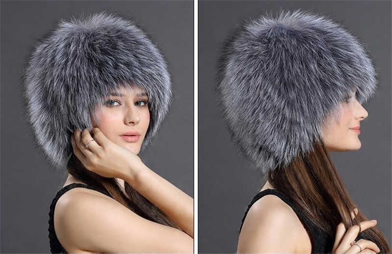 4a1507e7798 ... Warm Genuine Sliver Fox Fur Cap Winter Hat for Women s Hat Knitted  Beanies Cap Thick Ladies