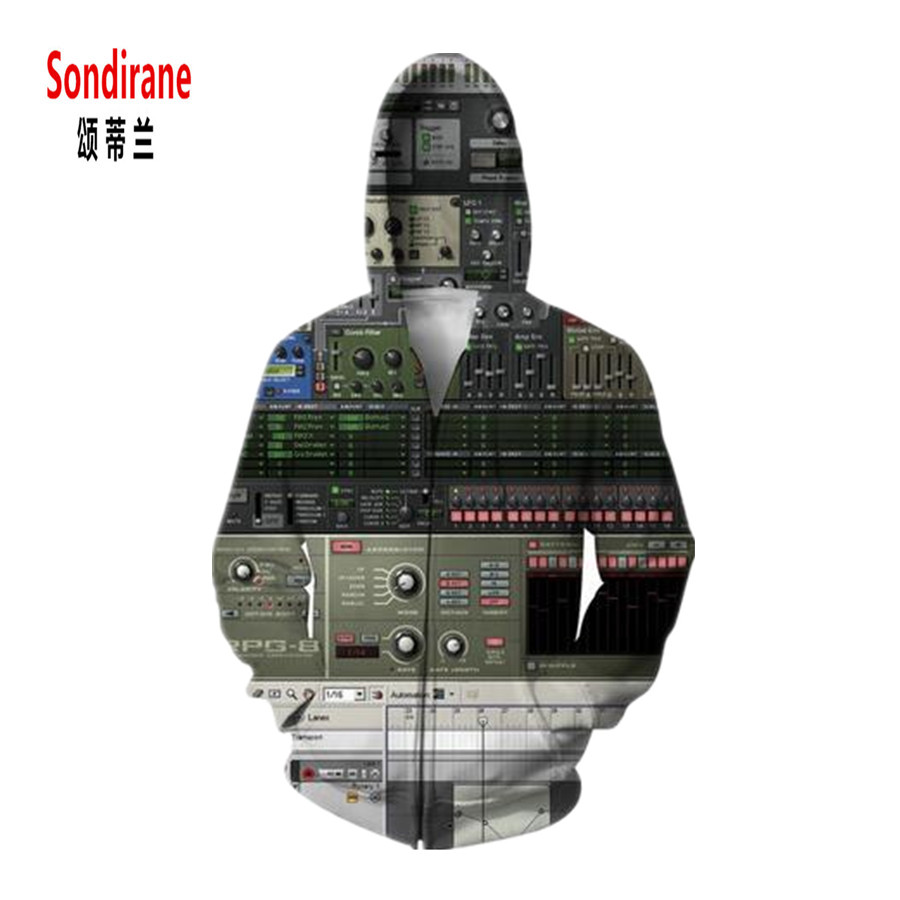 Sondirane Fashion 3D Print Play DJ Button Symbols Graphics Hoodies Women/Men Long Sleeve Sweatshirts Zipper Sudaderas Clothing