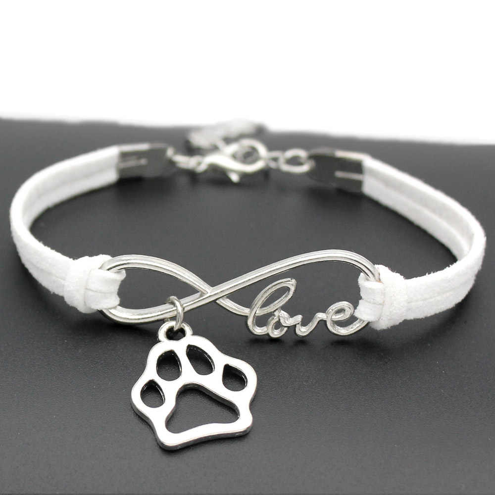 1pcs infinity handmade Women Stylish  Love Pets Dogs Lover Cat Animal Bear Paw Charms Pendant Bracelet Friendship Gift 7438