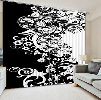 Modern Custom 3D Window Curtains Hooks Polyester Curtain For Bedroom Paint black and white pattern Curtains