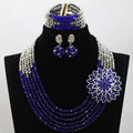 2017 New Fashionable African Beads Jewelry Set Royal Blue/Sliver  Costume Nigerian Wedding African Jewelry  Free Shipping hx450