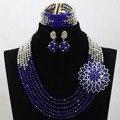 2017 Nueva Moda Perlas Africanas Joyería Conjunto Azul/Astilla de Vestuario Africanos de Nigeria Boda Joyería Envío Gratis hx450