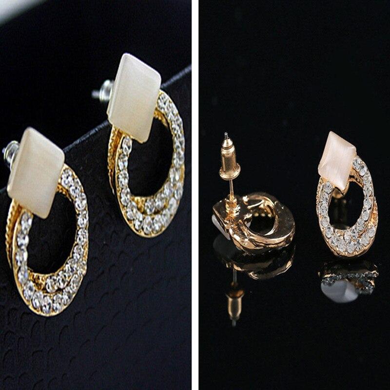 Crystal Bowknot Rhinestone Earring Stud Gold 1 Pair