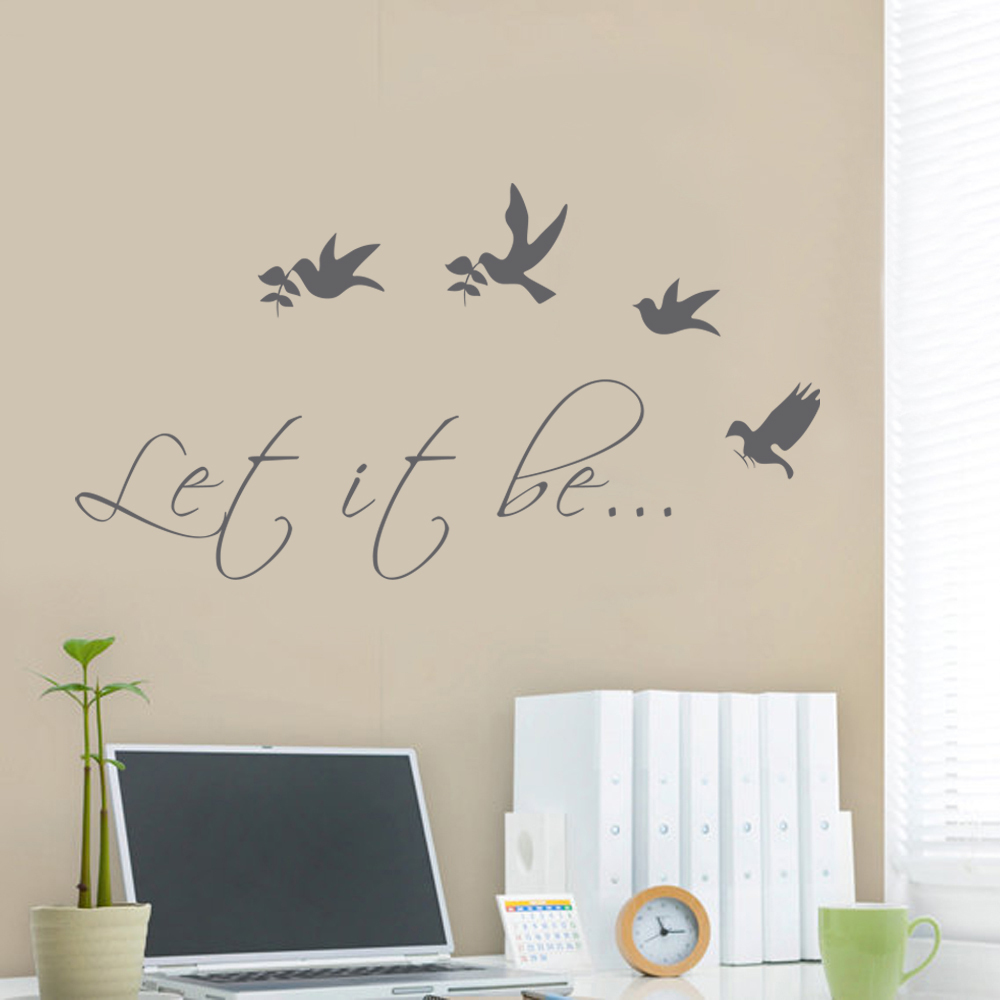 Let it Be Wall Decal Vinyl Lettering Bird Wall Decal Living Room ...