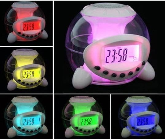 7 Led Color Changing Natural Sound Wake Up Alarm Clock