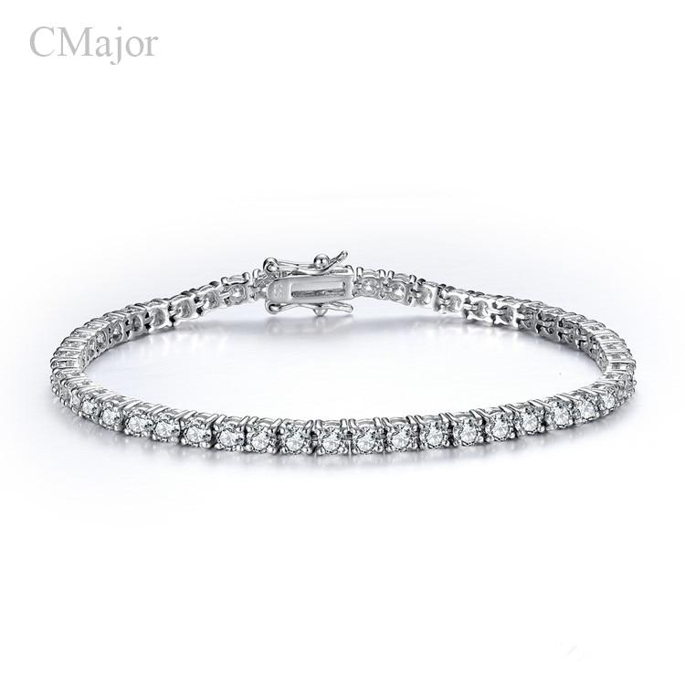 Bijoux en argent Sterling 925 timbre classique tennis bracelet broche réglage zircon cubique bracelets pour femme cadeaux