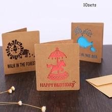 10sets Hollow Out Decorative Pattern Wedding Invitation Card Greeting Kraft Pape Congratulation