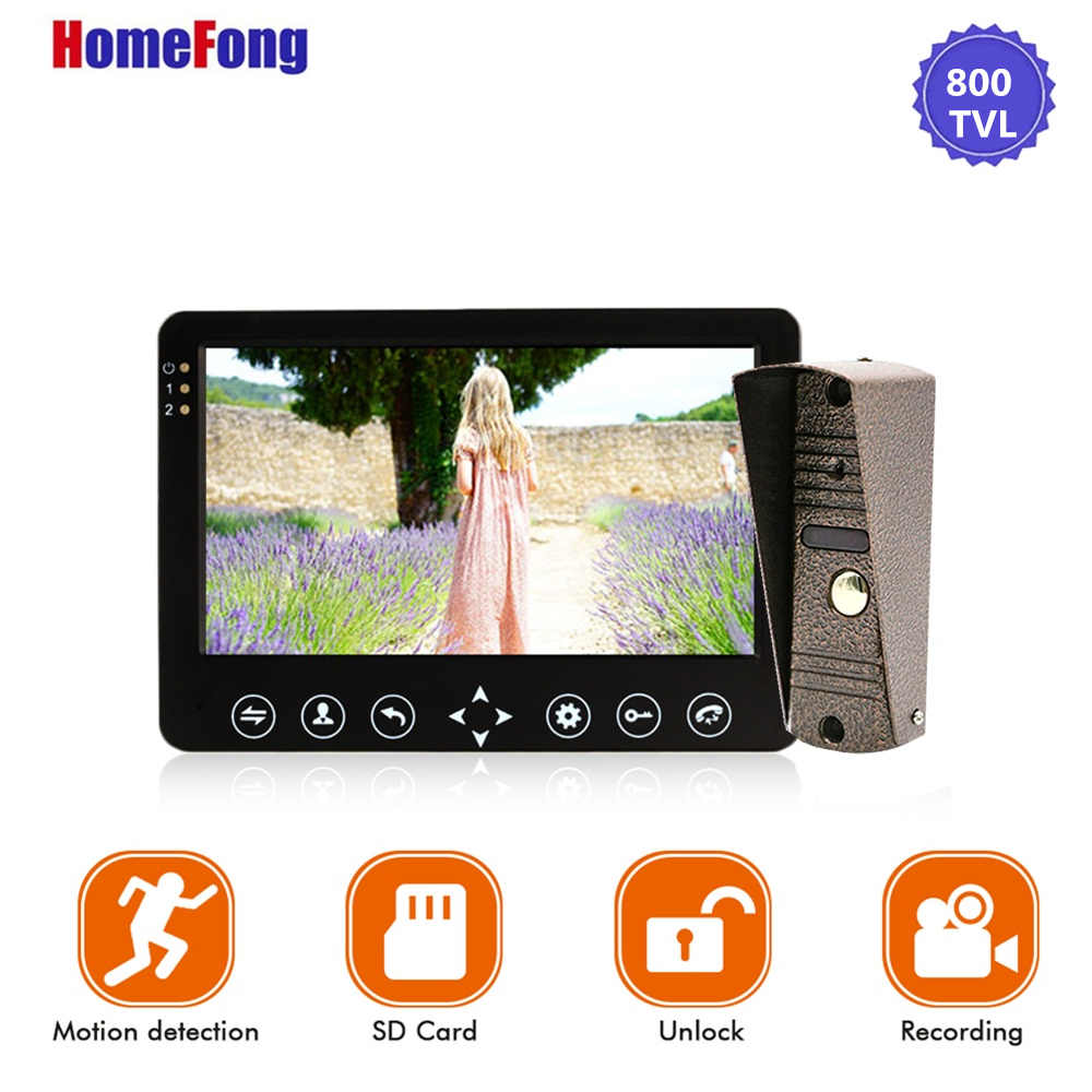 Image 3 - Homefong 7 Inch Video Door Phone 1 Camera  Wired Doorbell Recording Unlock Motion Sensor Black/White SD Card Touch Button-in Video Intercom from Security & Protection