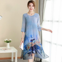 Summer Fashion Silk Women Dress 2018 New Simple Seven minutes Sleeve And Round Collar Elegant Loose Office Lady Big Code Dresses