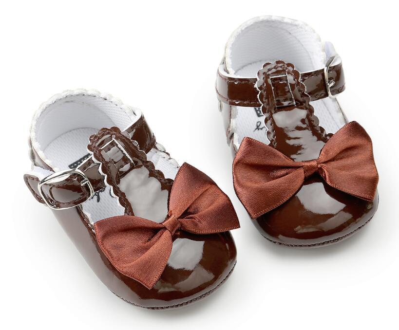 Newborn Baby Girls Bow anti-dérapant Cuir Crib Chaussures Mocassin Semelle Souple Prewalker