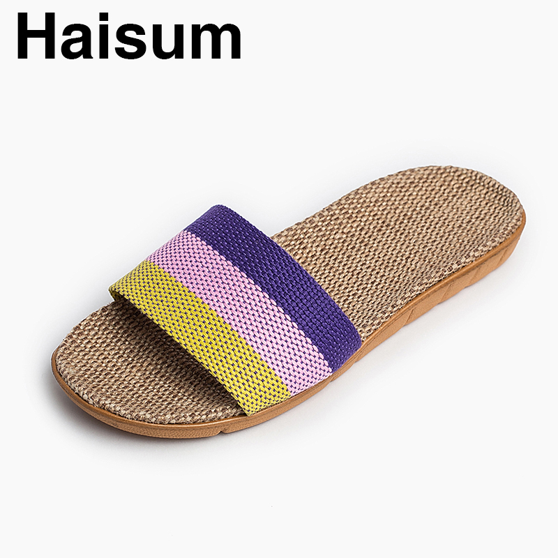 Ladies Slippers Summer Linen Woven Breathable Home Indoor Non-slip Slippers 2018 New Hot Haisum H-8821 ladies slippers summer genuine leather linen woven breathable home indoor non slip slippers 2018 new hot haisum tb010