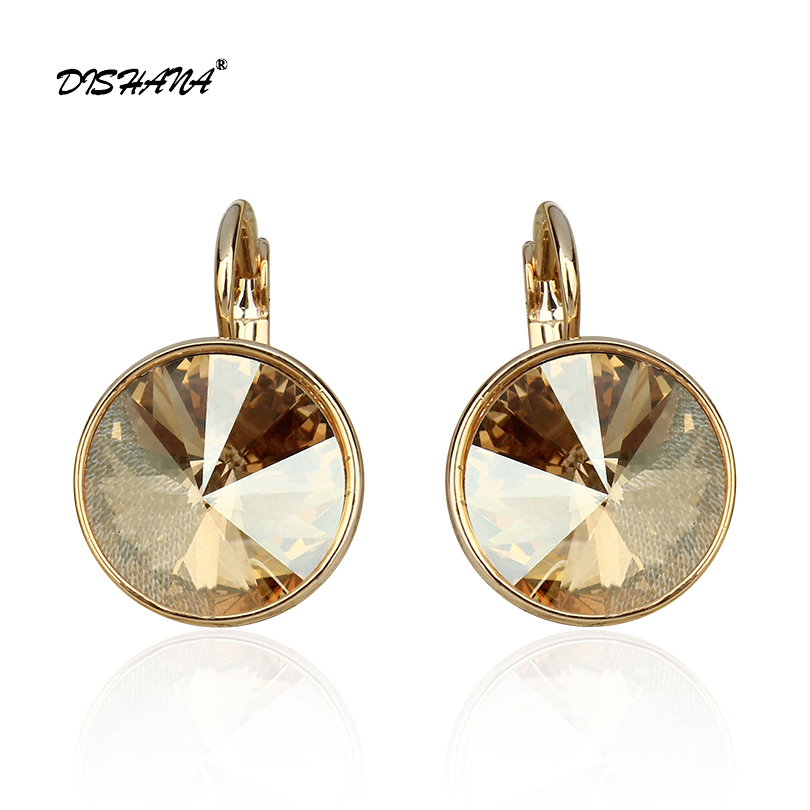 New women dangle earring with stones elegant Gold- 100% Austrian crystals earring jewelry Drop Earrings(E0098) azora new arrival gold color round champagne crystals dangle earrings for women party fashion drop earrings jewelry te0294