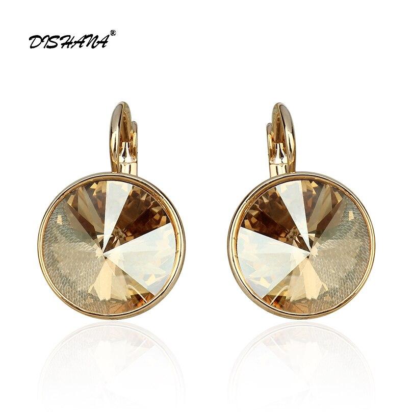 Nuove donne ciondola l'orecchino con pietre Oro elegante-100% cristalli Austriaci orecchino gioielli Orecchini di Goccia (E0098)