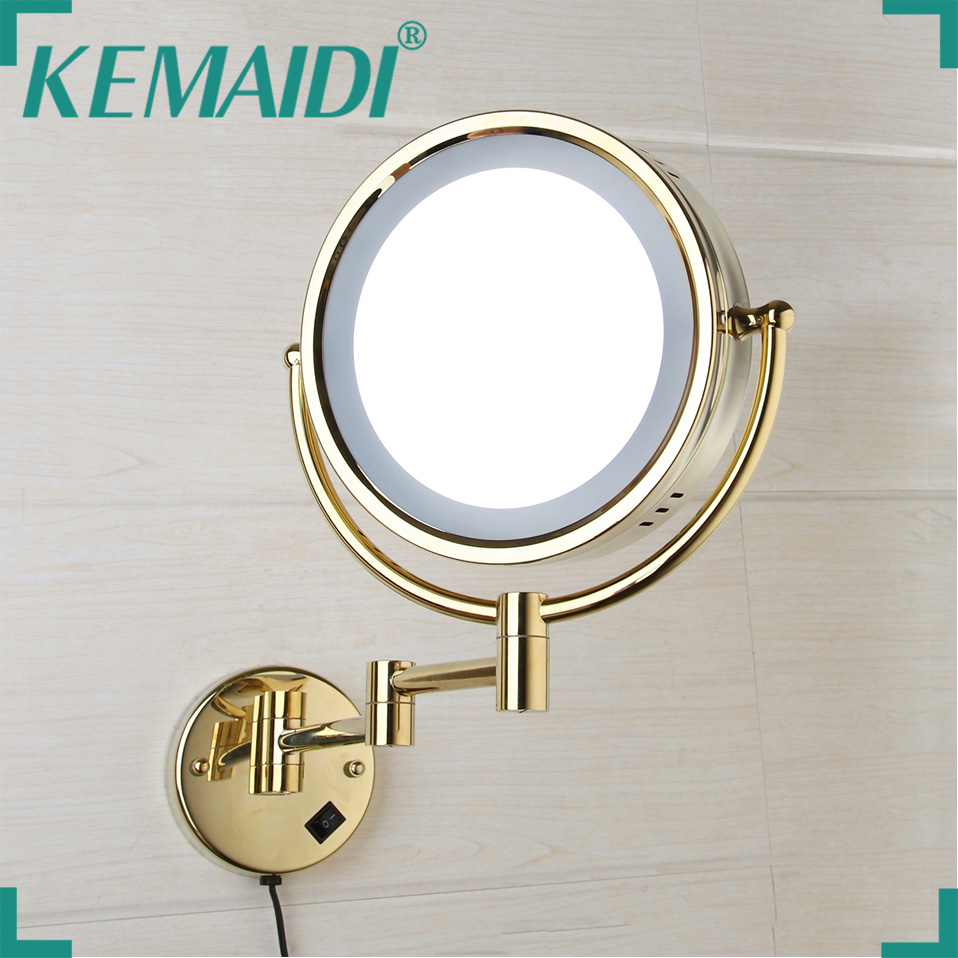 KEMAIDI Led Makeup Mirror With Led Light Vanity Cosmetic Magnifying Wall Mirror Bathroom 3x Magnification Shaving Makeup Mirrors
