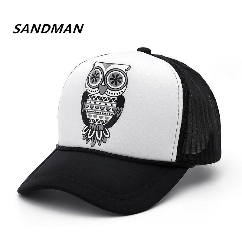 Watercolor Owl Trend Printing Cowboy Hat Fashion Baseball Cap For Men and Women Black