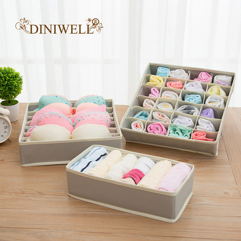 DINIWELL 1 Set New Non-Woven Collapsible Storage Boxes For Bra Underwear Folding  Closet Organizer Drawer Divider Container(China)