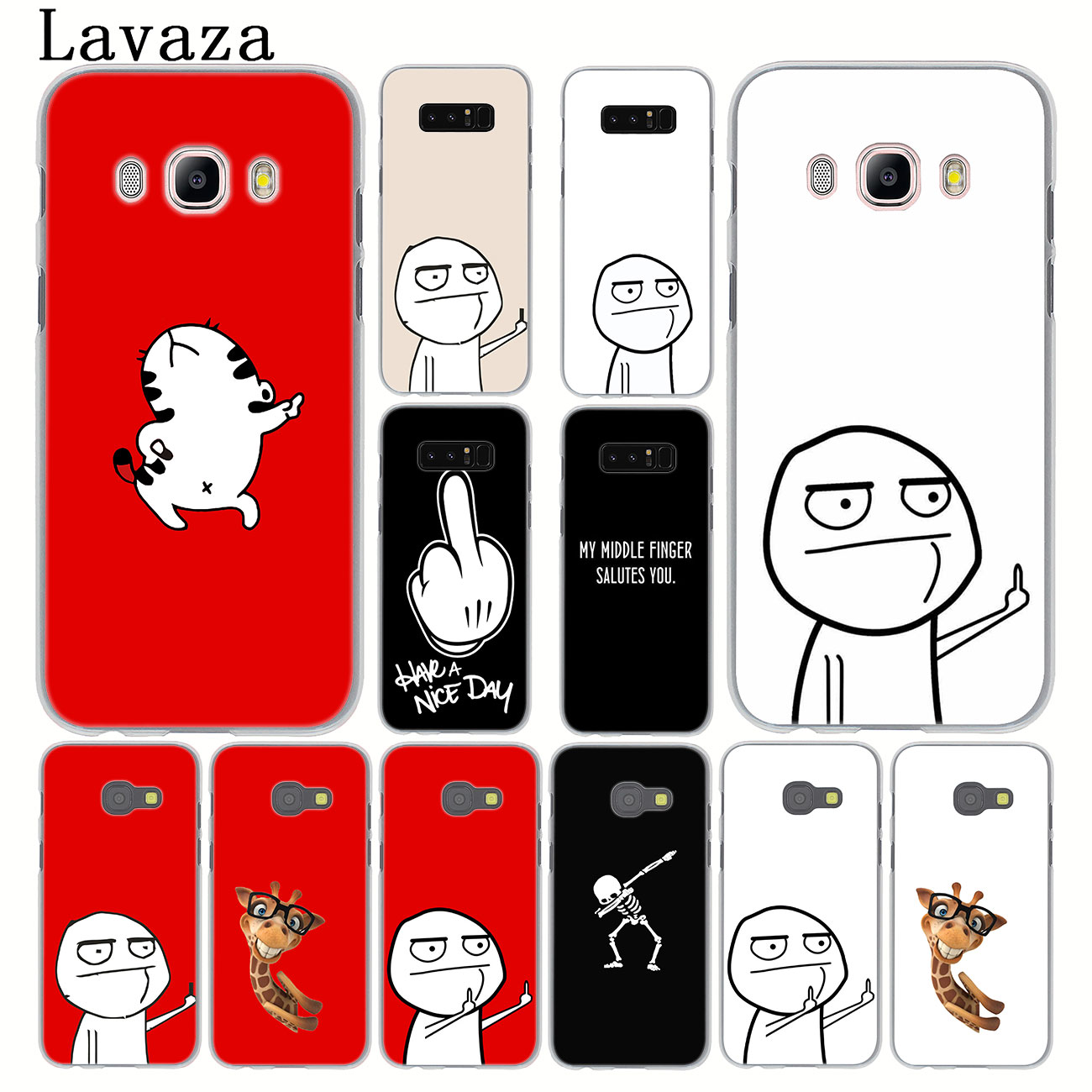 meme face Middle Finger Funny Cartoon Lovers Case for Samsung Galaxy Note 10 9 8 A9 A8 A7 A6 Plus 2018 A5 A3 2015 2016 2017 image