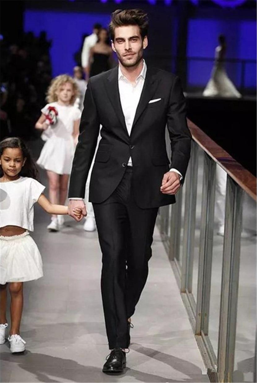 Custom Made Classy Black Two Piece Mens Suit Peaked Lapel 2 Buttons Trim Fit Wedding Tuxedos Business Men Suit (Jacket+Pants)