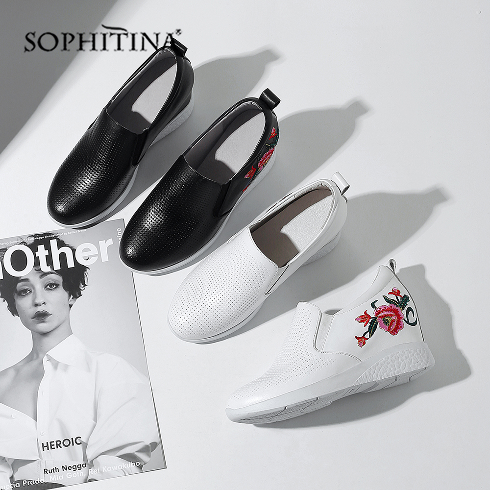 SOPHITINA Fahion Flower Flats Comfortable Round Toe Cow Leather Increase Within Casual Shoes Hot Sale Women