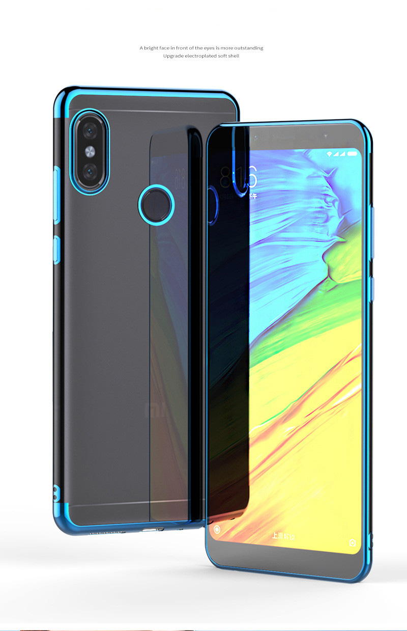 plating soft transparent case xiaomi redmi note 6 5 7 pro  01