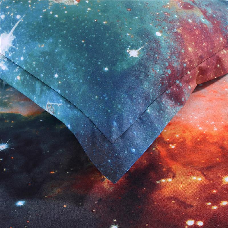iDouillet 3D Nebala Outer Space Star Galaxy Bedding Set 2/3/4 pcs Duvet Cover Flat Sheet Pillowcase Queen Twin Size 16