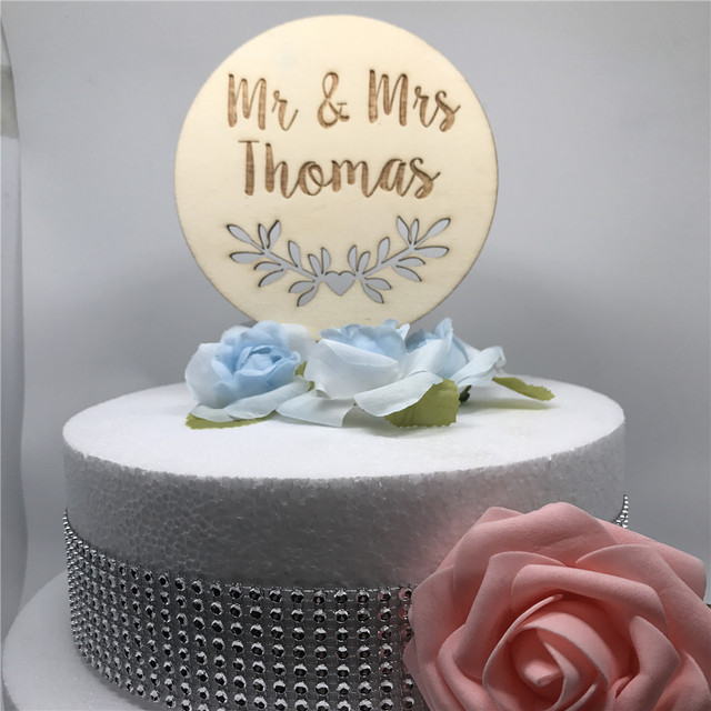 Personalized Wooden Bride Groom Wedding Cake Topper Custom Name Mr