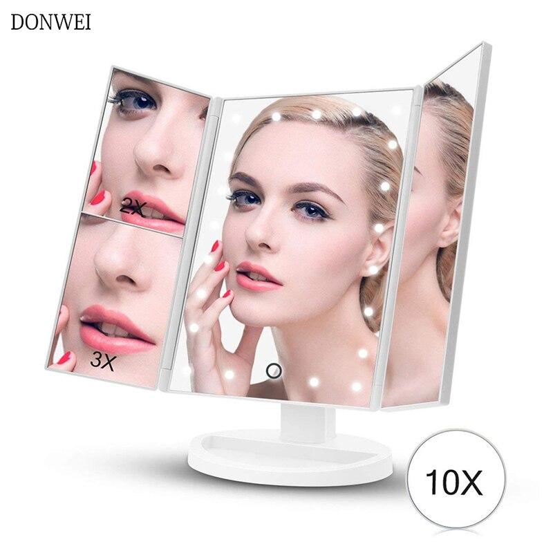 3 Folding Adjustable Touch Screen Makeup Mirror light 22 LED Table Desktop Makeup1X/2X/3X/10X Magnifying Mirrors Vanity light