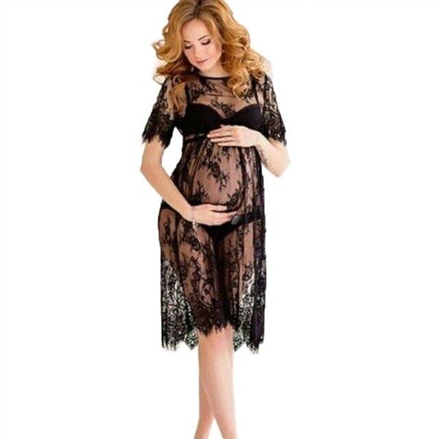 Новый женская кружева dress casual длинные черные с коротким рукавом о шеи see through одежда для пляжа платья b4