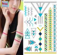 Temporary tattoos Waterproof tattoo stickers body art Painting for party event decoration metalic blue green golden