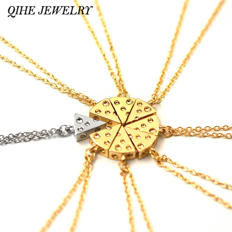QIHE JEWELRY 8pcs/set Minimalist 3D Tiny Charm Gold Silver Tone Dainty  Cheese Pizza Necklace Food Jewelry Friendship Necklace