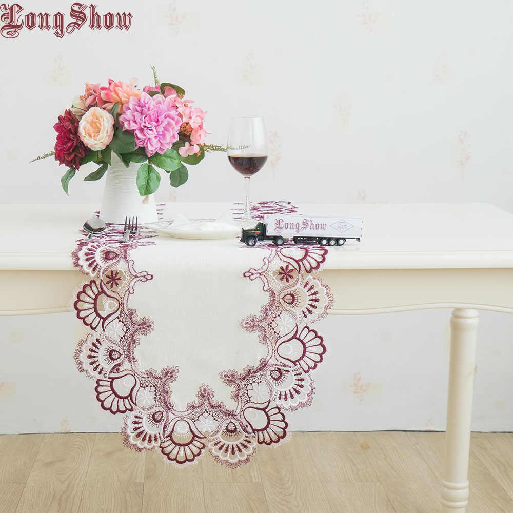 Бесплатная доставка 2019 новейший дизайн стол декоративный ручной работы фиолетовый белый двухцветный кружевной каймы овальный стол бегун