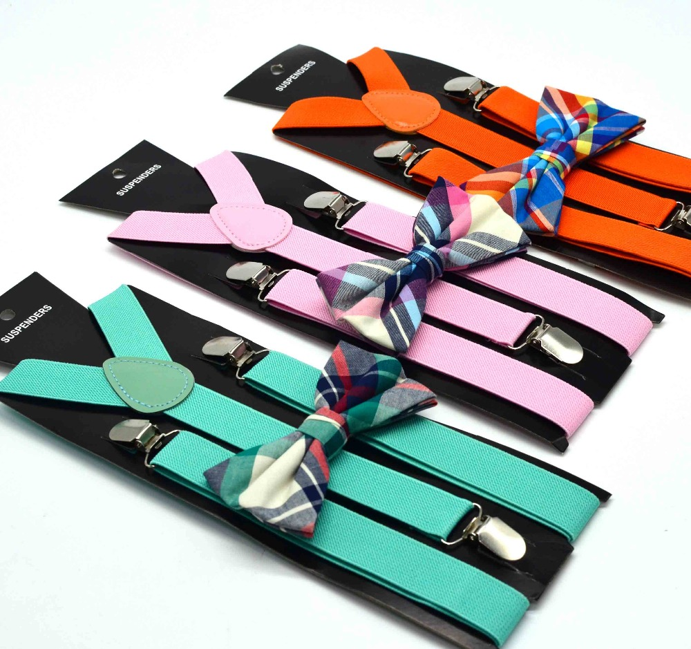 Suspenders Bow Tie Set For Adult Women Men Solid Brace High Elasticity Brand Factory Made