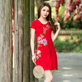 Summer Large Size Women Elegant Red Black Embroidery Flowers Short Sleeve Round Neck Casual Elastic Sexy Party Mini Dress