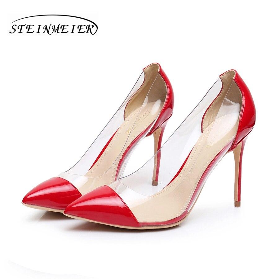 Ženske visoke pete 8,5 cm 10 cm tanke pete seksi črpalke čevlji rdeče črpalke dame elegantne OL ženske zabave enojne čevlje