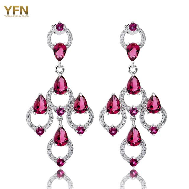 Yfn novo 925 sterling prata jóias da moda brincos 2016 CZ tamanho grande brincos de cristal de prata para mulheres brincos