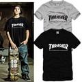 Thrasher camiseta de algodón marca camiseta del monopatín de Hip Hop Streetwear hombres más el tamaño 6 Color de manga corta para camisa Homme Thrasher