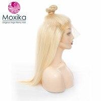 Moxika #613 блонд бразильские прямые человеческие волосы парик фронта шнурка 14 28 дюймов парики Remy 150% плотность шелковистые длинные толстые