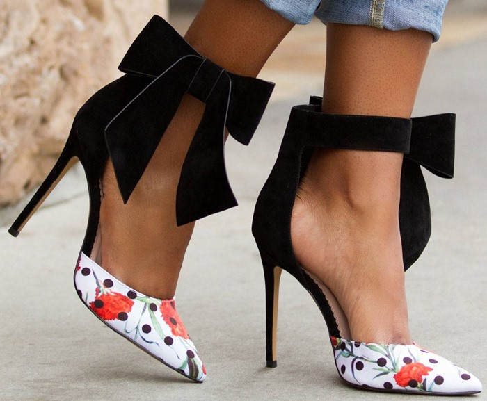 Sestito Lady Elegant Big Bowtie Decorated High Heels Pumps Woman Dot&Flower Print Cover Heels Dress Shoes Lady Pointed Toe Shoes akamatsu flower bowtie shoes woman red diamond high heels pumps cover heels runway shoes pink black butterfly knot sandals