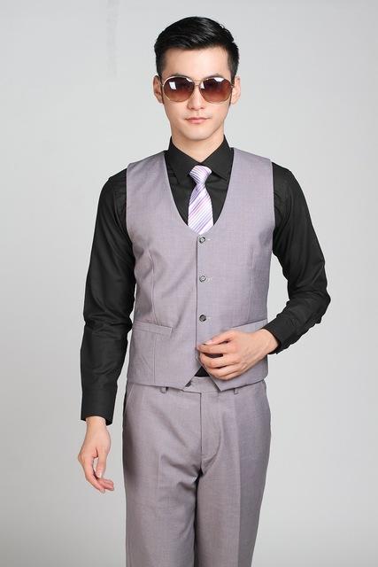 Dos homens de Negócios de Moda Formais Terno Cinza Claro Colete Slim Fit Vestido de Festa de casamento Homens Blazer Colete Colete Gilet Chaleco Hombre Boda