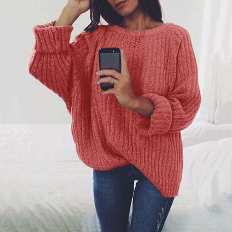 2019 New Autumn Spring Women Sweaters Fashion O neck Batwing Sleeve Pullovers Loose Knitted Sweaters Female Jumper Pull Tops in Pullovers from Women 39 s Clothing