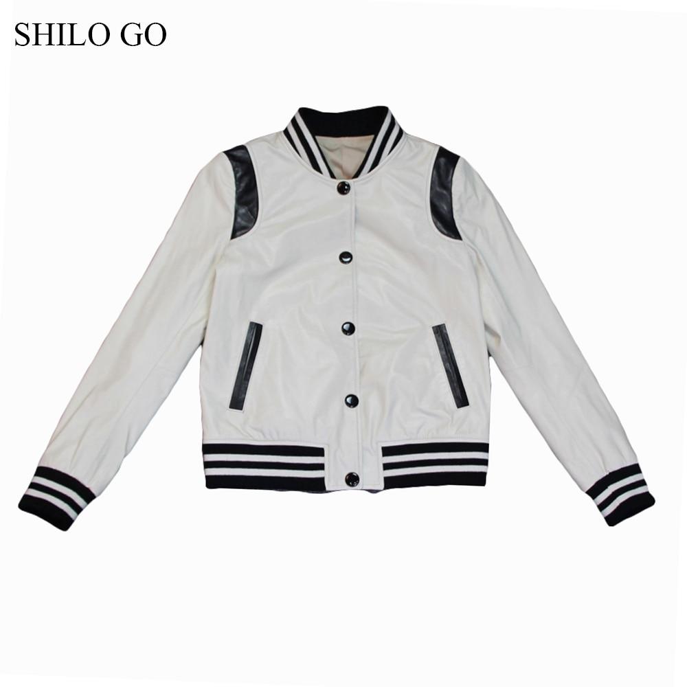 SHILO GO Leather Jacket Womens Spring Fashion sheepskin genuine leather coat O Neck single breasted beige Casual Baseball jacket