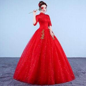 Image 3 - Photo réelle Vintage robes De mariée 2020 col haut Style coréen rouge romantique mariée princesse or dentelle broderie Vestido De Novia