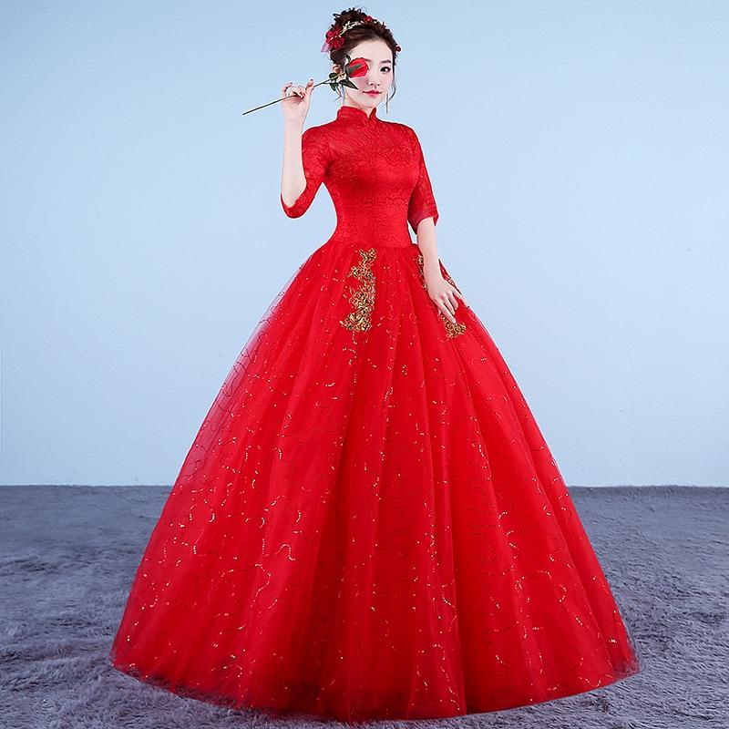 Image 3 - Vestidos De boda De foto Real 2017 cuello alto estilo coreano rojo romántico Novia princesa encaje con bordado De oro Vestido De Novia-in Vestidos de novia from Bodas y eventos on AliExpress