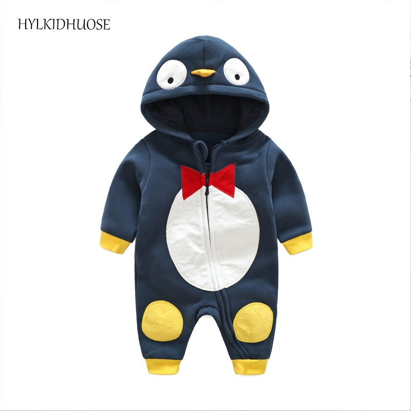 HYLKIDHUOSE 2017 Infant Newborn Rompers Cartoon Baby Boys Girls Rompers Hooded Casual Children Climbing Clothes Kids