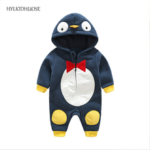 HYLKIDHUOSE 2017 Infant/Newborn Rompers Cartoon Baby Boys Girls Rompers Hooded Casual Children Climbing Clothes Kids Jumpsuits