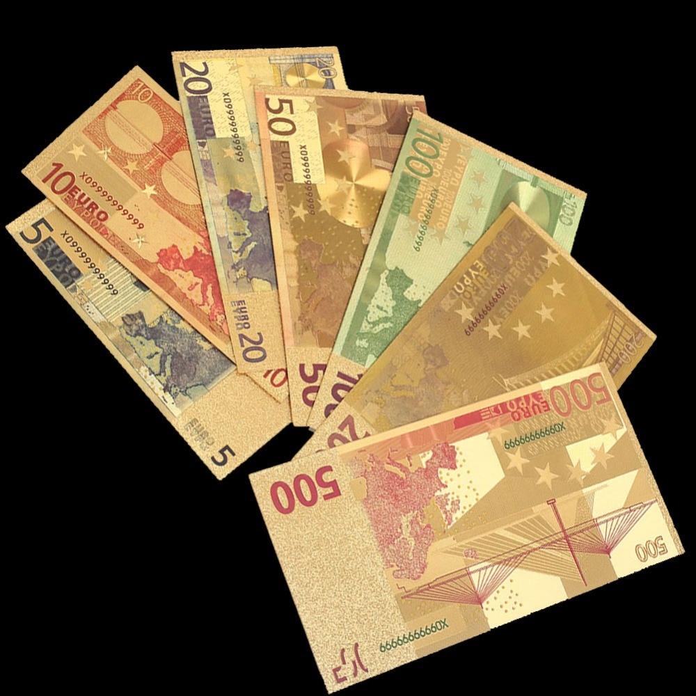 10pcs Color Euro Banknote Sets 5 10 20 50 100 200 500 EUR Gold Banknotes 24K Gold Foil Commemorative Coin Gold Banknotes