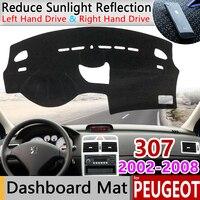 Dla Peugeot 307 2002 ~ 2008 307sw 307cc Anti slipmata Dashboard Pad parasolka Dashmat Protect dywan akcesoria 2003 2004 2005 SW w Naklejki samochodowe od Samochody i motocykle na