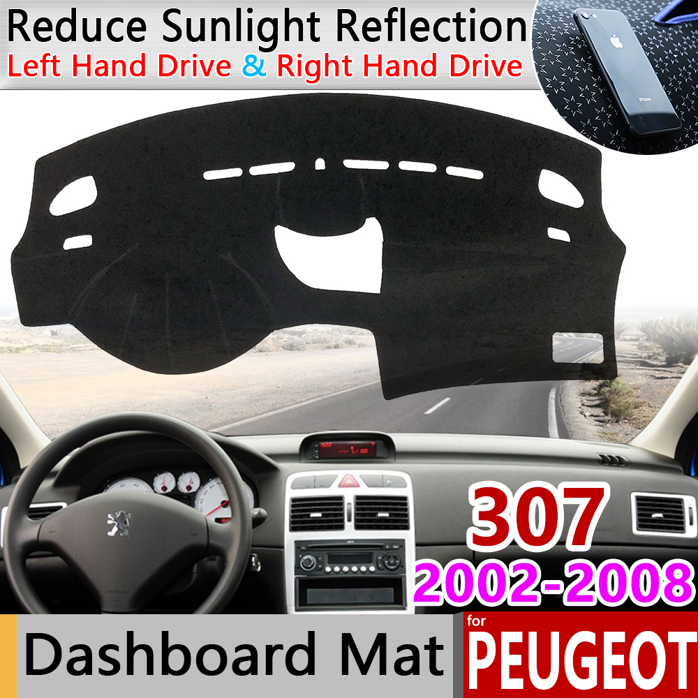 for Peugeot 307 2002 2008 307sw 307cc Anti-Slip Mat Dashboard Pad Sunshade Dashmat Protect Carpet Accessories 2003 2004 2005 SW