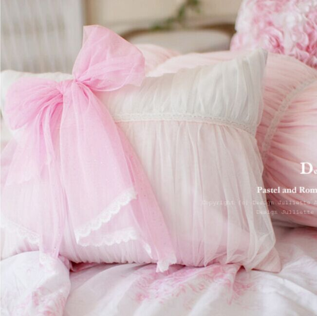1piece Sweet princess lace cushions cover luxury pillow cover bowknot cushion covers wedding decoration bedroom bedding textile